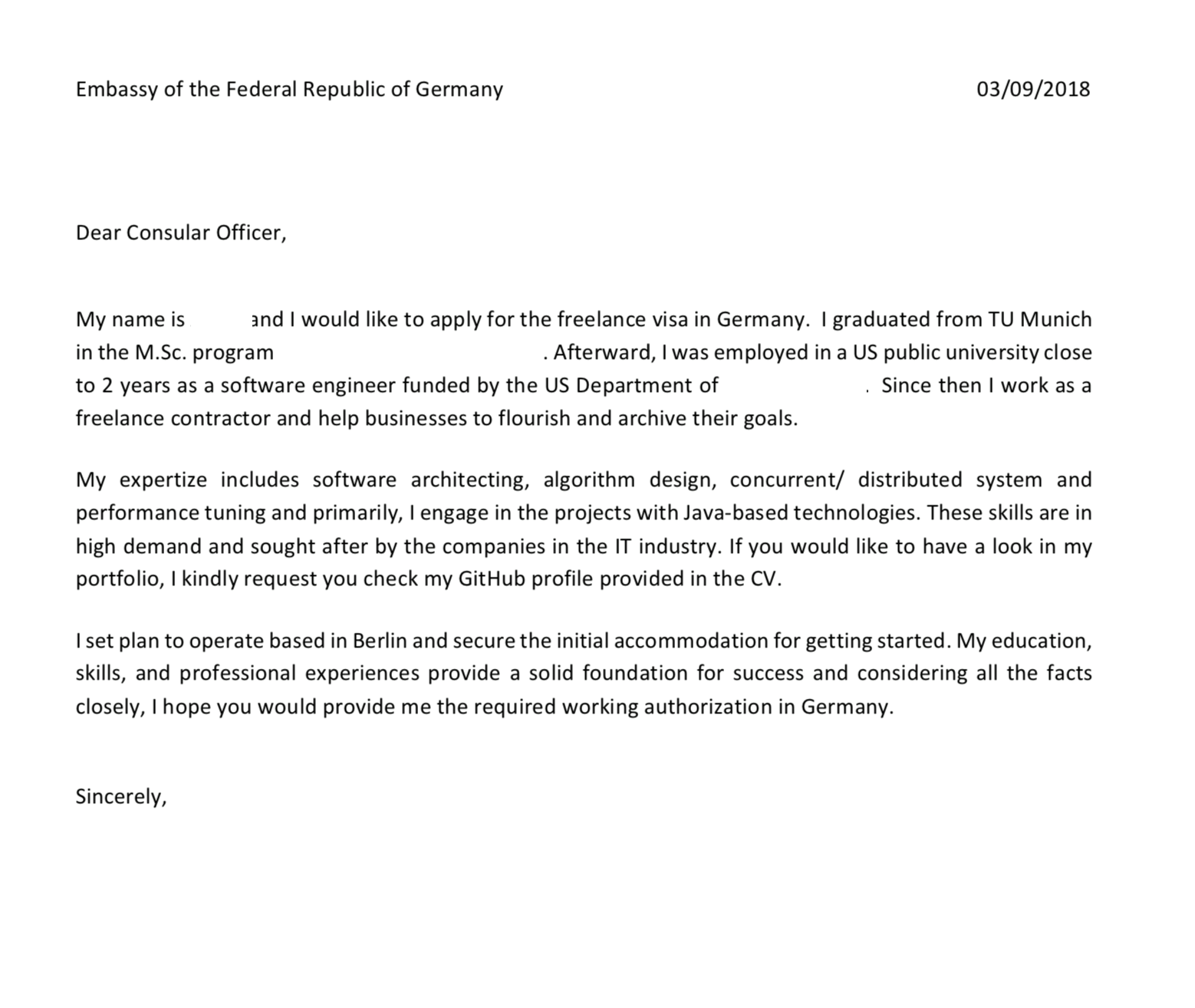 Cover letter for the German freelance visa - All About Berlin